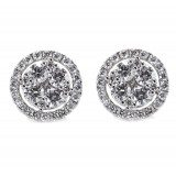 Diamond Cluster Stud Earrings 2.12CT TW