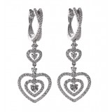 3 Tier Heart Diamond Dangle Earrings 1.32CT TW