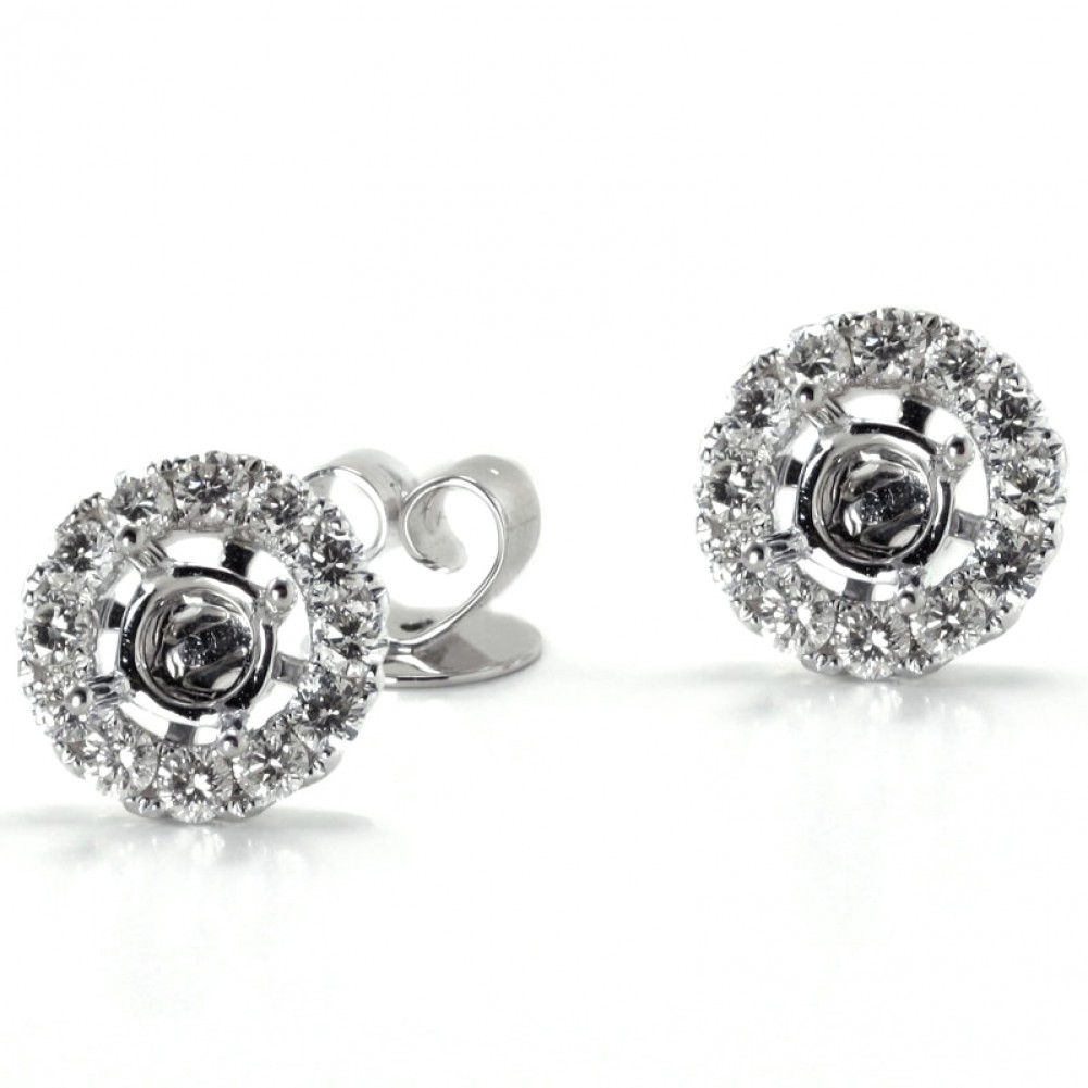 earrings w stud t p v square tw layered in ct white gold diamond