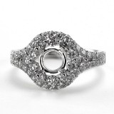 Diamond  Halo with Split Shank Engagement ring Setting 1.18CT