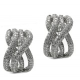 4.49 Cts. 18K White Gold Intertwined Diamond Hoop Earrings