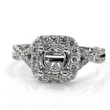 Intertwined Micropavé Diamond Engagement Ring with Halo