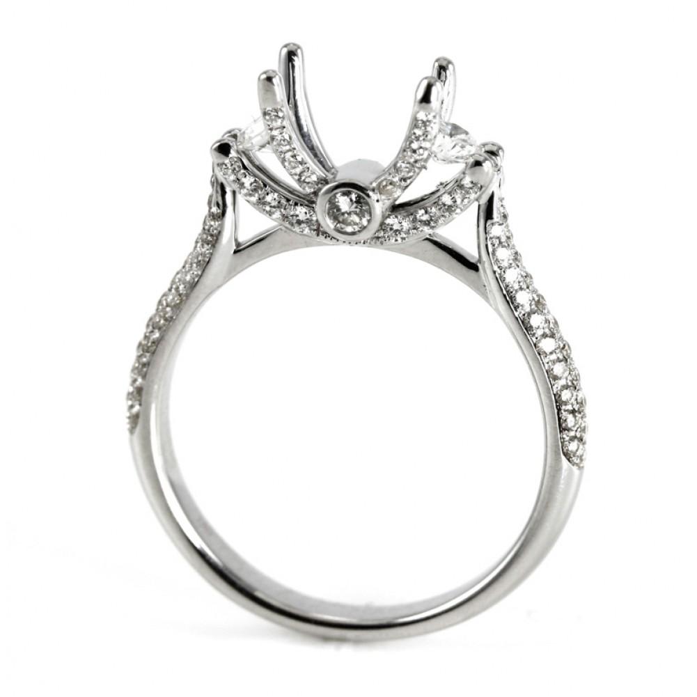 068ct Art Deco Style, Diamond Pave Engagement Ring Setting