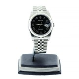 ROLEX Datejust Stainless Steel Domed Bezel Black Dial 36mm Automatic Watch
