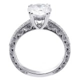 2.51 Cts Round Cut Diamond Engagement ring set in 18K white gold