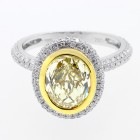 3.98 CTS OVAL FANCY YELLOW DIAMOND ENGAGEMENT RING SET IN 18K WHITE GOLD