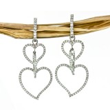 3 Tier Heart Diamond Drop Earrings 2.02Cts tw