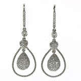 18Kt White Gold Diamond Pave Drop Earrings