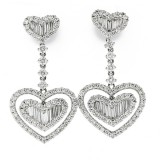 2.75Cts Round and Baguette Cut Diamond Heart Earrings