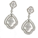 18Kt White gold and Diamond Drop Earrings 4.13 Cts tw