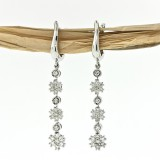 0.97 CT Long Diamond Flower Drop Earrings