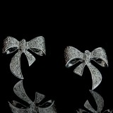 1/4 CT Diamond Bow Earrings 14Kt White Gold