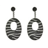 Black & White Diamond oval drop earrings