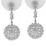 4.75Cts Fancy Floral Diamond Drop Earrings