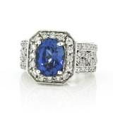 3.50 Cts. 18K White Gold Sapphire Diamond Ladies Right Hand Ring