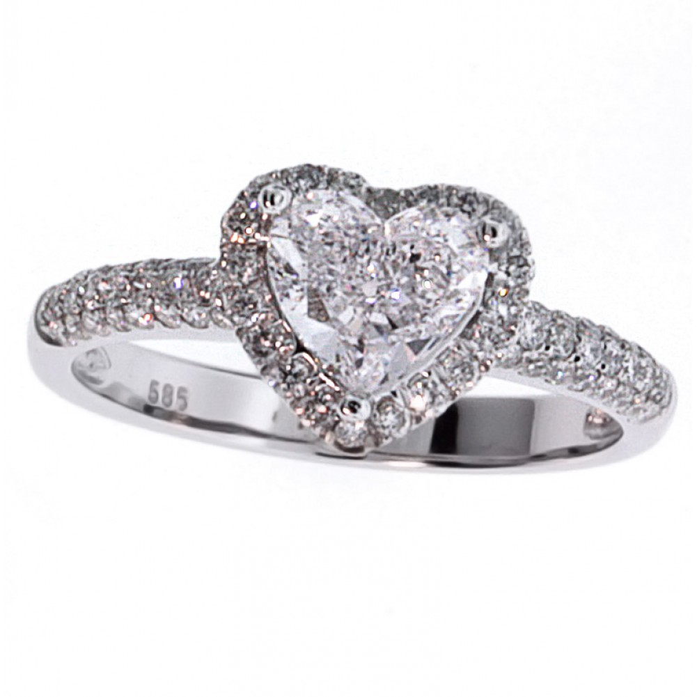 142 Cts Gia Heart Diamond Engagement Ring, Pave With Halo