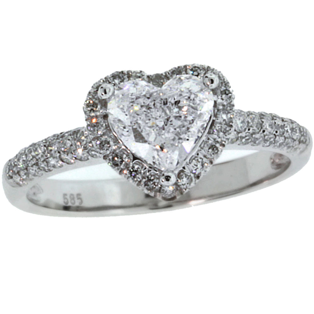 142 cts gia heart diamond engagement ring pave with halo - Cheap Diamond Wedding Rings