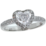 1.42 Cts. GIA Heart  Diamond Engagement Ring, Pave with Halo