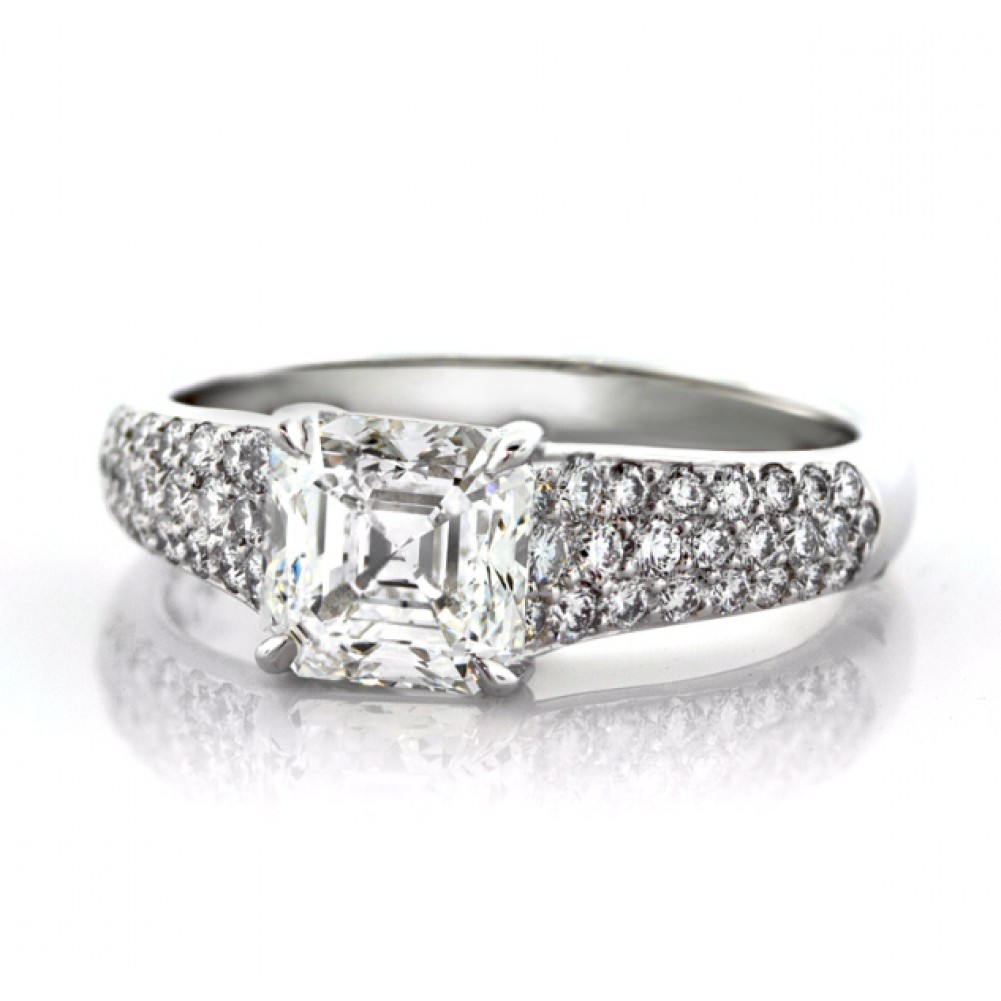 2ct Platinum Asscher Cut Diamond Engagement Ring
