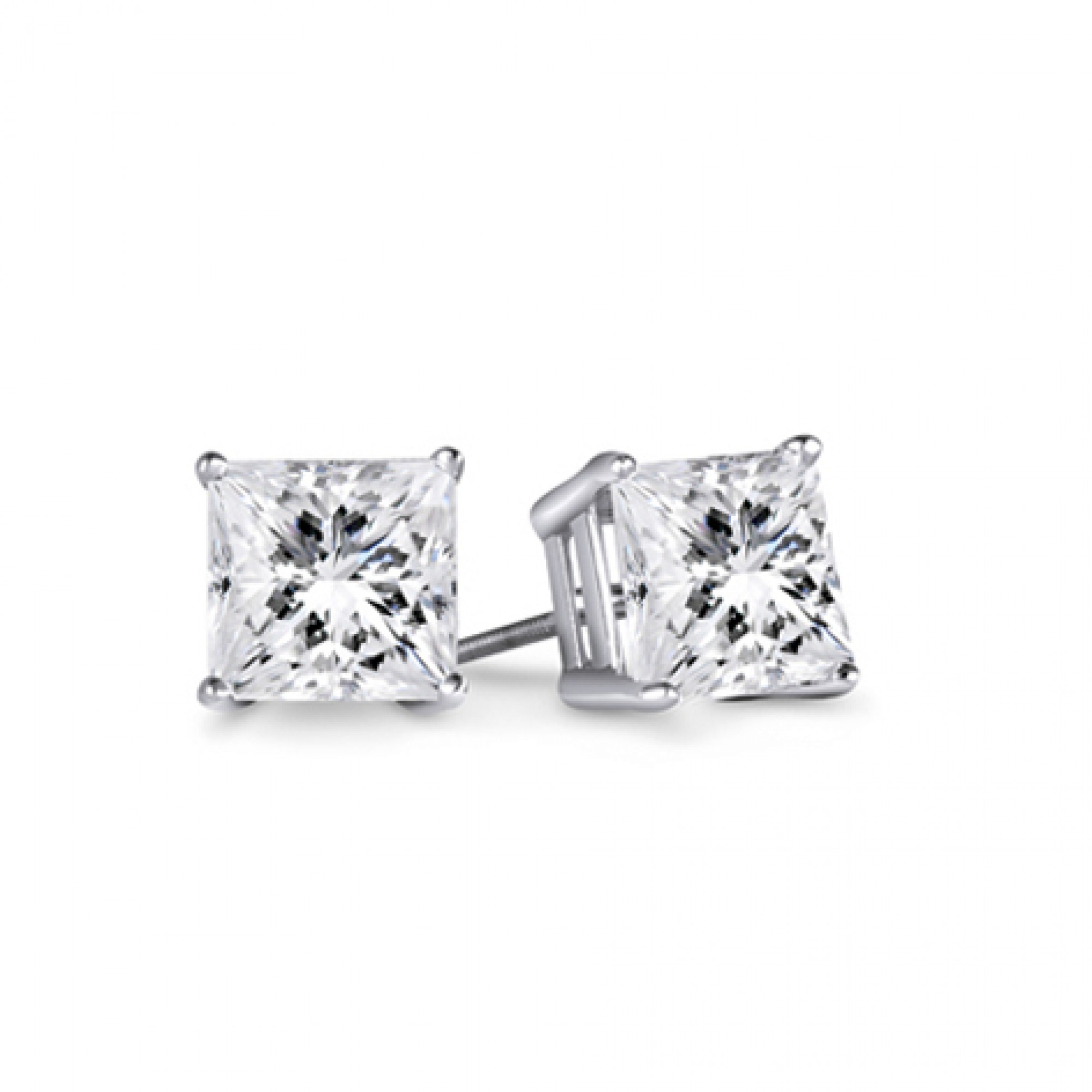 1 3 4ct Tw Princess Diamond Stud Earrings 14kt White Gold
