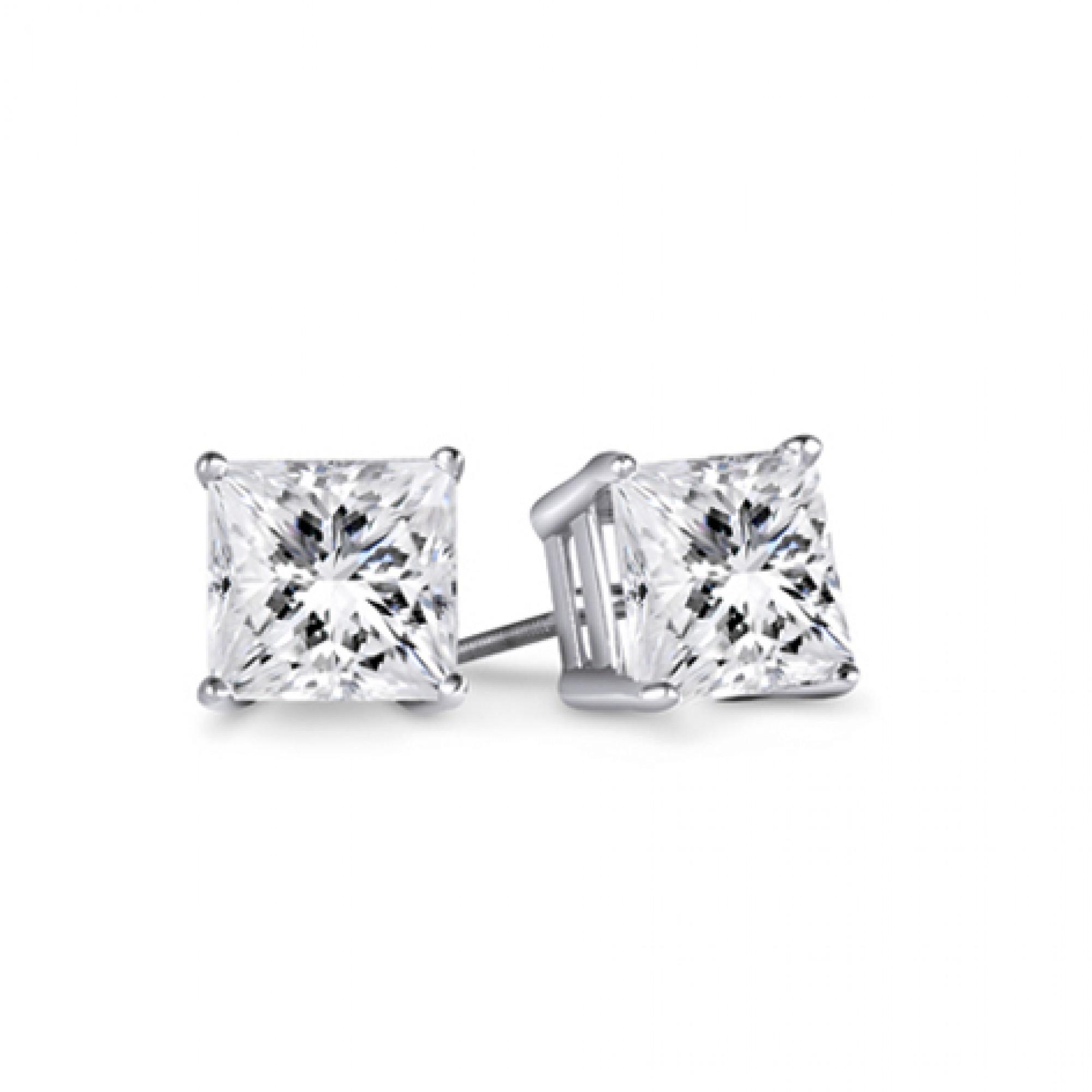 1 3 4ct Tw Princess Diamond Stud Earrings 14kt White Gold