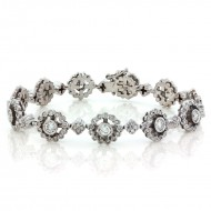 3.45 Cts. 18K White Gold Flower Diamond Bracelet