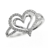 0.30 Cts. 14K White Gold Diamond Double Heart Ring