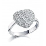 1.02 Cts. 14K White Gold Diamond Filled Heart Ring