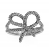 0.65 Cts. 18K White Gold Diamond Ribboned Heart