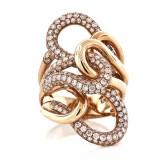 2.45 Cts. 18K Rose Gold Diamond Twist Right Hand Ring