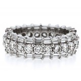 3 Row Baguette and Round Diamond Eternity Band
