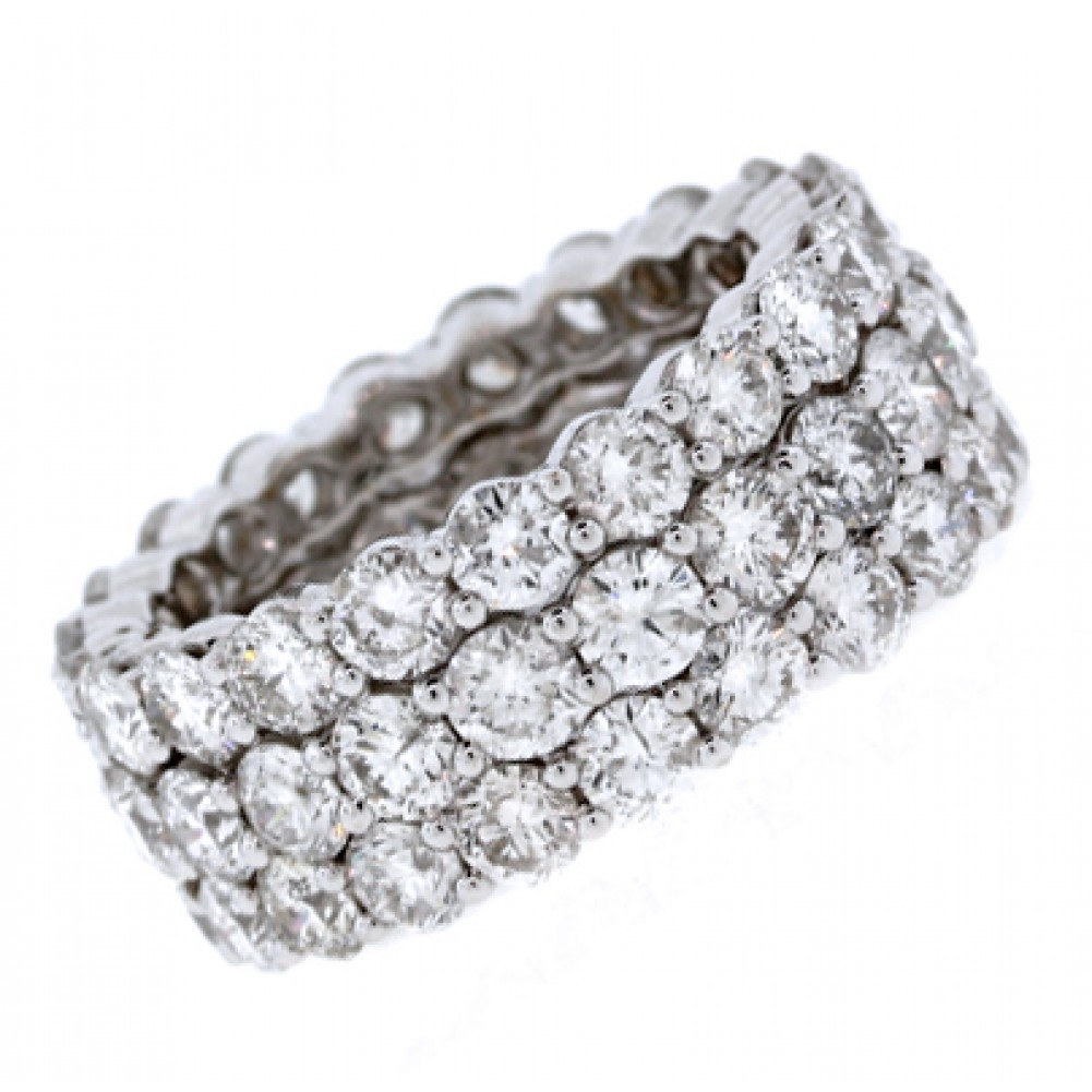 3 Row Round Diamond Eternity Band