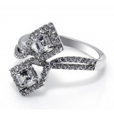1 1/4 CT Ascher Cut Diamonds  Bypass Ring, 18k White Gold
