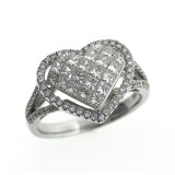 1.31 Cts. 14K White Gold Diamond Filled Heart Ring