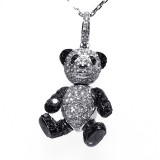 1.80 Cts. 14K White Gold Black And White Diamond Teddy Bear Pendant