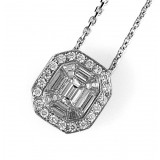 Emerald Cut Diamond Pendant 3/4 CT 18K White Gold