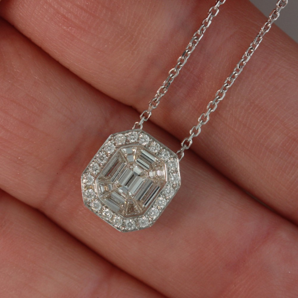 Emerald cut diamond pendant 34 ct 18k white goldcheap diamond emerald cut diamond pendant 34 ct 18k white gold aloadofball Choice Image