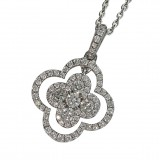 4 Leaf Clover Diamond Pendant with Diamonds in the chain