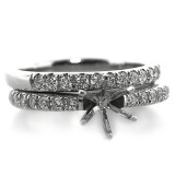 6 Prong Crown Head Diamond Engagement Ring and Wedding Band Set