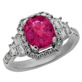 3.85 Cts. 18K White Gold Pink Rubelite Diamond Ring