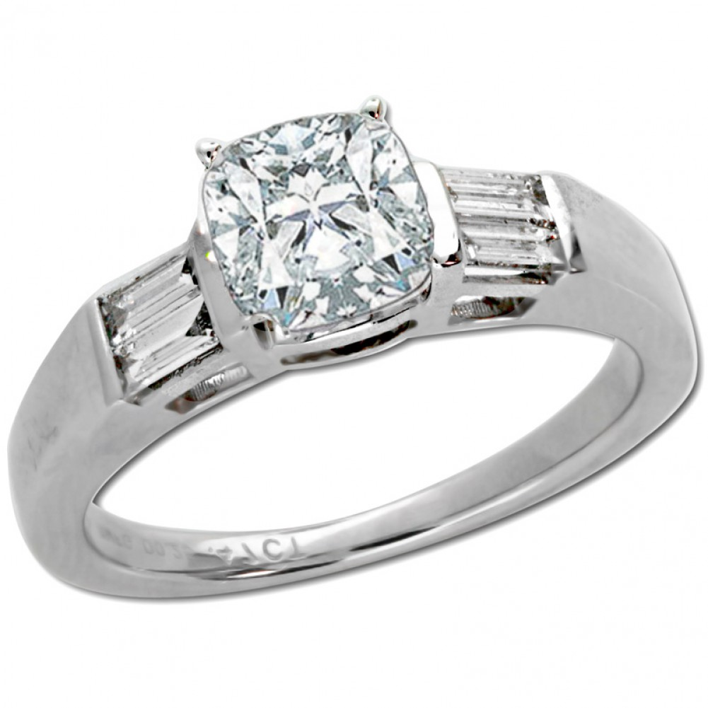 1 22 Ct Cushion Cut Diamond Engagement Ring With Side Baguettes