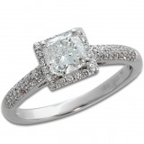 1.30 Cts. 18K White Gold Cushion Cut Diamond Engagement Ring With Halo