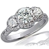 2.10 Ct 3 Stone Diamond Engagement Ring in 14Kt  White Gold