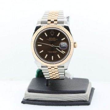 Rolex Datejust II Two-tone, 18K Rose Gold Fluted, Chocolate Dial 41mm Automatic Watch
