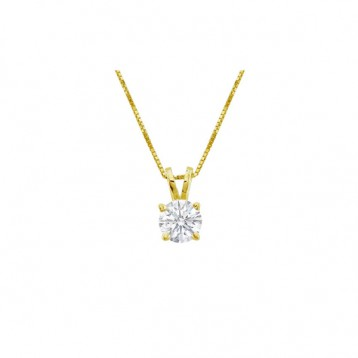 0.75CT Round Diamond Solitaire Pendant  14Kt Yellow Gold
