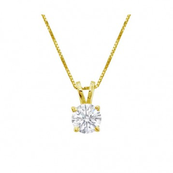 0.70CT Round Diamond Solitaire Pendant 14Kt Yellow Gold