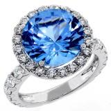 5 Cts Blue Aquamarine Fancy Ring set in 18K White Gold