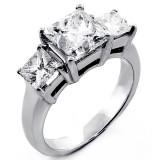 3.01 Cts Three Stone Princess Cut Diamond Engagement Ring set in 14K White Gold