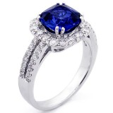2.75 Cts Cushion Cut Blue Gemstone Diamond Cushion Halo Engagement Ring Set in 18K White Gold