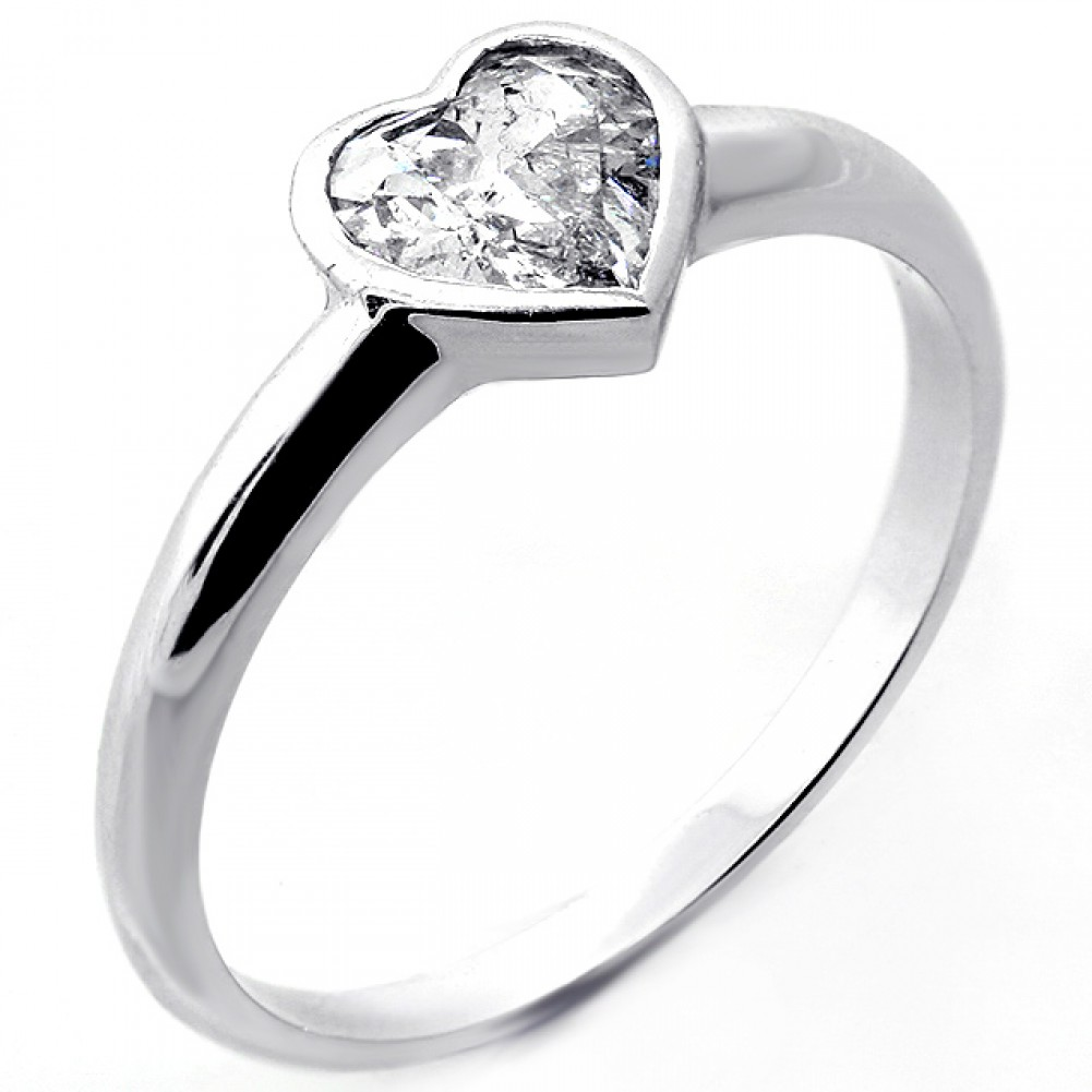 .84 tcw Heart Cut Natural Diamond Bezel Set Solitaire ...